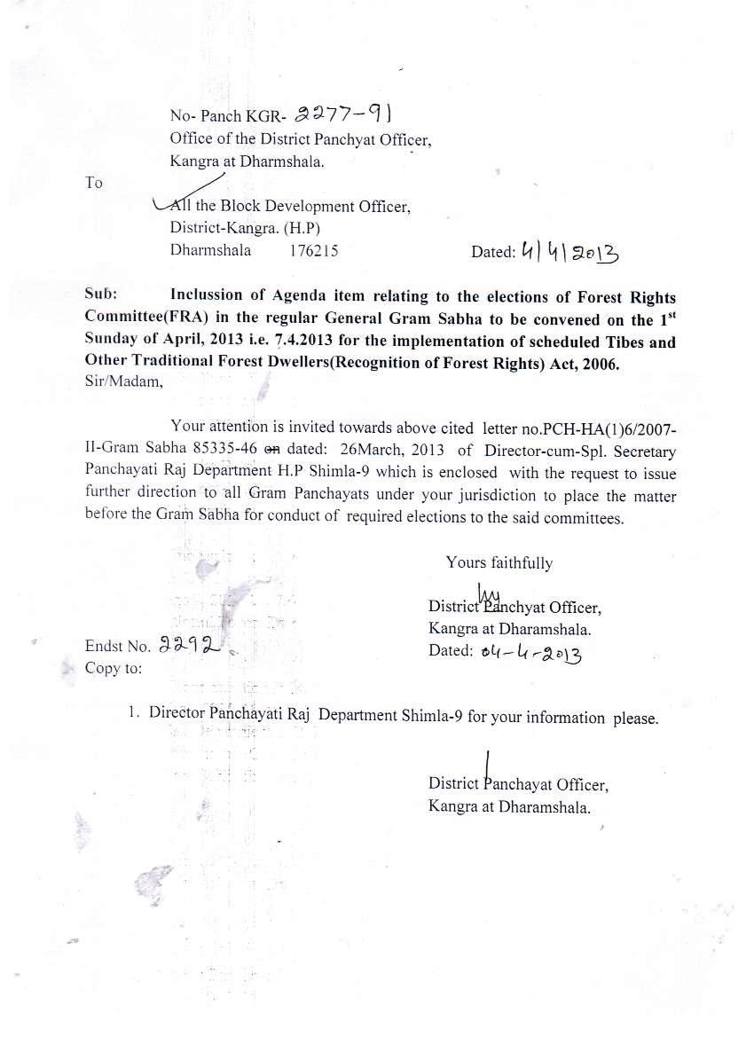 Letter from district panchayat officer to include fra committee letter from district panchayat officer to include fra committee formation agenda in gram sabha agenda altavistaventures Image collections