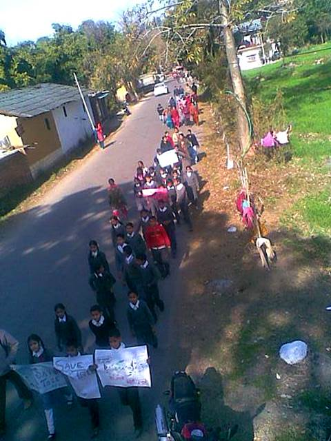 School Children come out and rally against the green felling in Chetru